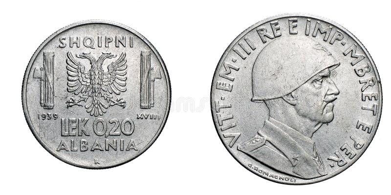 Twenty 20 cent LEK Albania Colony acmonital Coin 1939 Vittorio Emanuele III Kingdom of Italy, World War II stock photo
