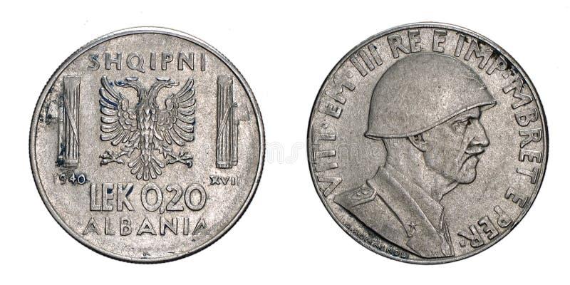 Twenty 20 cents LEK Albania Colony acmonital Coin 1940 Vittorio Emanuele III Kingdom of Italy,World war II royalty free stock images