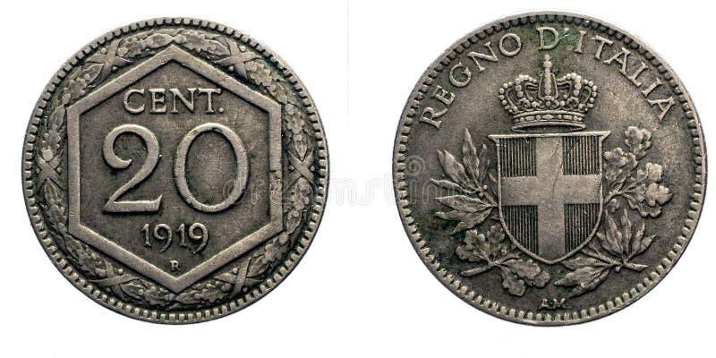Twenty 20 cents Lire Silver Coin 1919 Exagon Crown Savoy Shield Vittorio Emanuele III Kingdom of Italy royalty free stock images