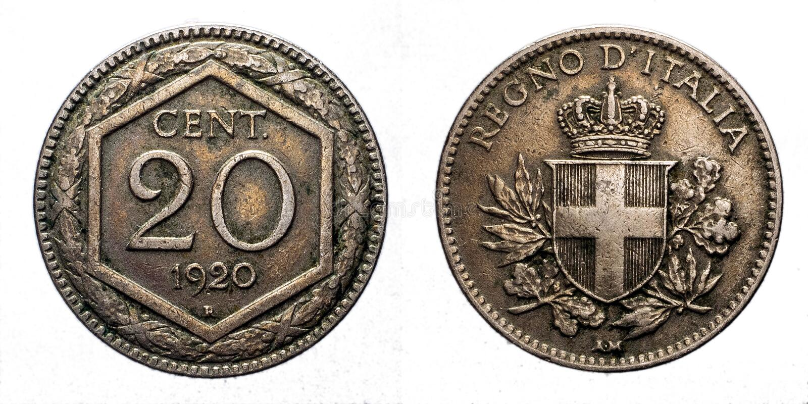 Twenty 20 cents Lire Silver Coin 1920 Exagon Crown Savoy Shield Vittorio Emanuele III Kingdom of Italy. Twenty 20 cents Lire Silver Coin 1920 Exagon on front and royalty free stock images