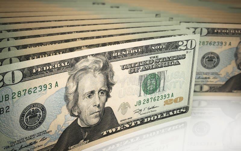 Twenty dollar banknotes royalty free illustration