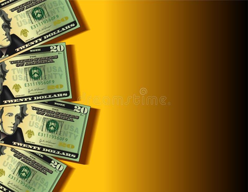Twenty dollar bills background stock illustration