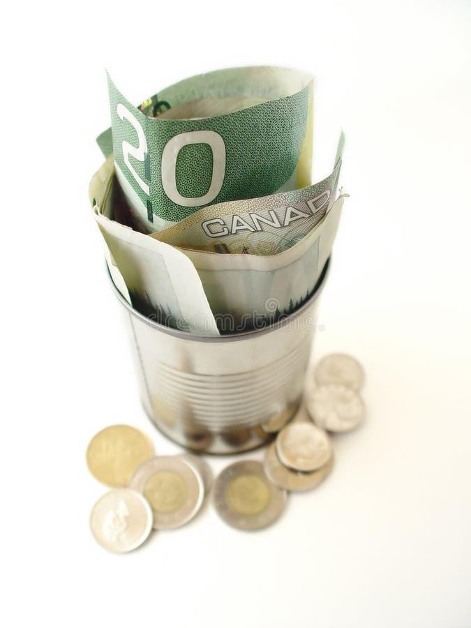 Twenty Dollar Bills in Can royalty free stock photo