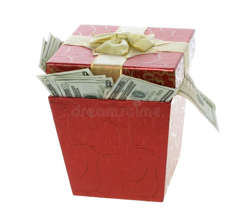 Twenty Dollar Bills Coming out of a Red Gift Box