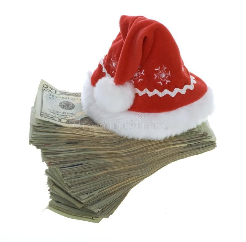 Twenty Dollar Bills with Red Santa Hat