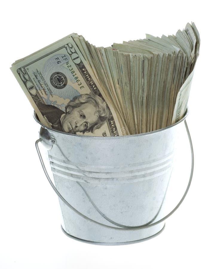 Twenty Dollar Bills in Silver Bucket stock photo