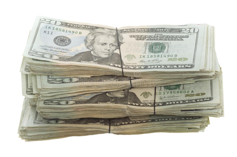 Twenty Dollar Bills Stacked and Banded Together stock photo