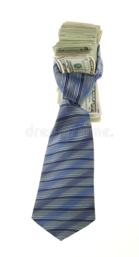 Twenty Dollar Bills Tied up with a Neck tie royalty free stock photography