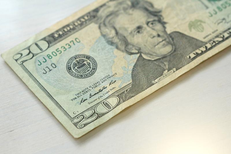 Twenty Dollars With One Note. 20 Dollars stock images