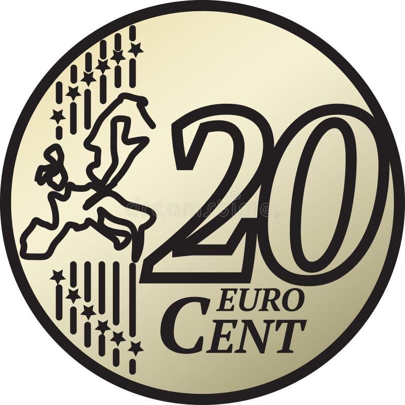 Twenty Euro Cent Coin. European Union 20 Euro Cent Coin vector illustration royalty free illustration