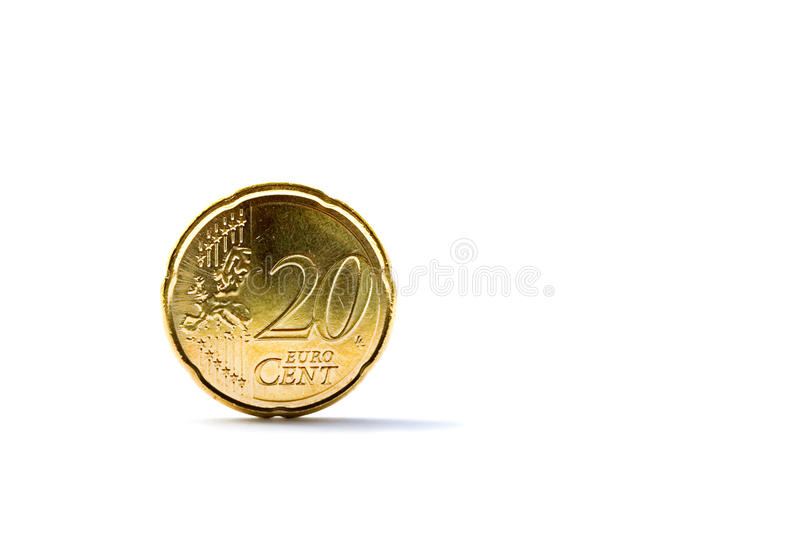 Twenty euro cents coin. Isolated on white background royalty free stock photo