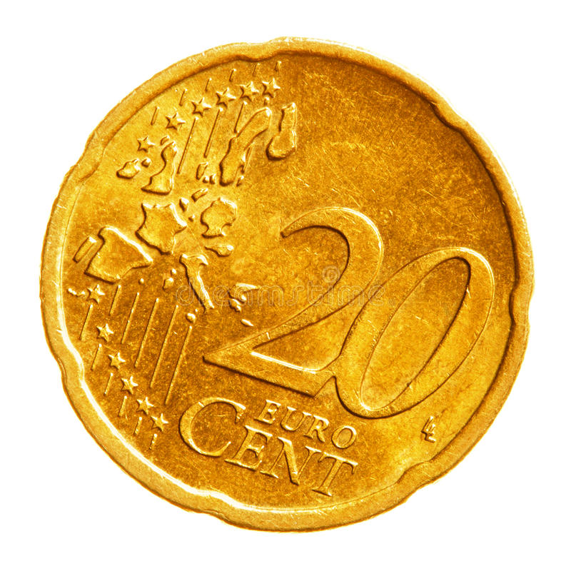 Twenty euro cents coin. Isolated over white background royalty free stock photos