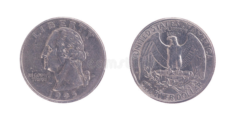 Twenty five American cents on a white background. Front and back stock images