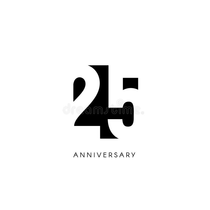 Twenty five anniversary, minimalistic logo. Twenty fifth years, 25th jubilee, greeting card. Birthday invitation. 25 royalty free illustration