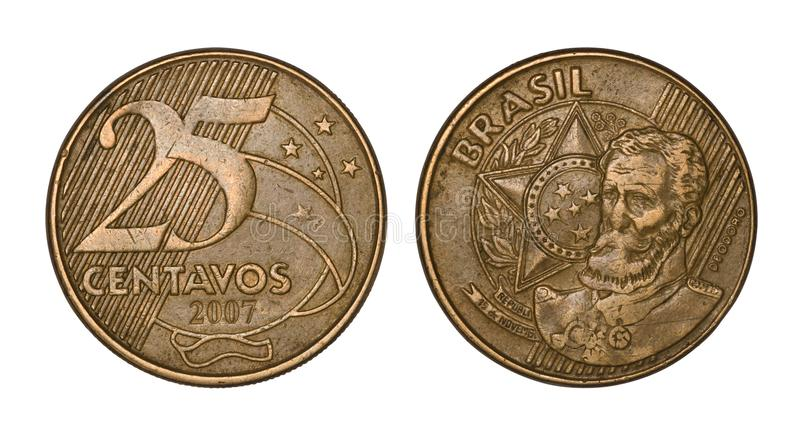 Twenty five brazilian real cents coin, front and back faces royalty free stock photography