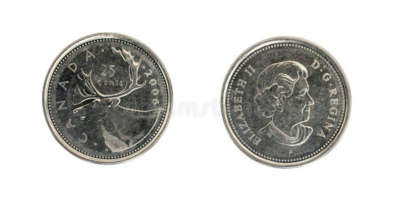 Twenty five Canadian cents royalty free stock photo