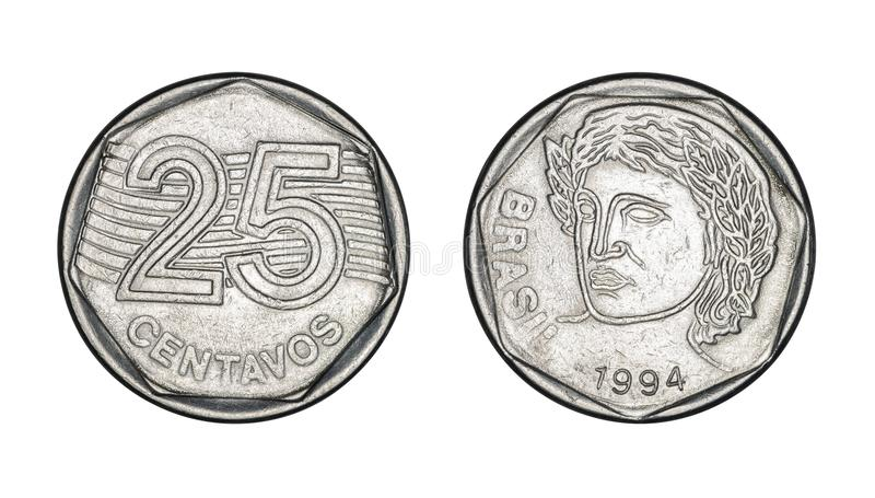 Twenty five cents brazilian real coin, front and back faces - Old Coins From Brazil royalty free stock photos