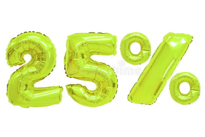 Twenty five percent from balloons lime color royalty free stock photo