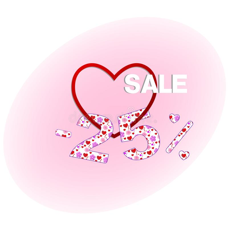 Twenty-five percent lower, Valentine`s Day discount vector illustration