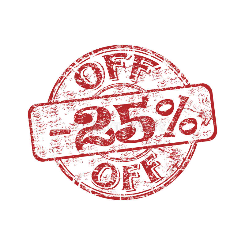 Twenty five percent off stamp royalty free illustration