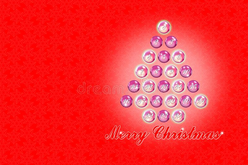Twenty four days until Christmas - concept image with christmas tree stock image
