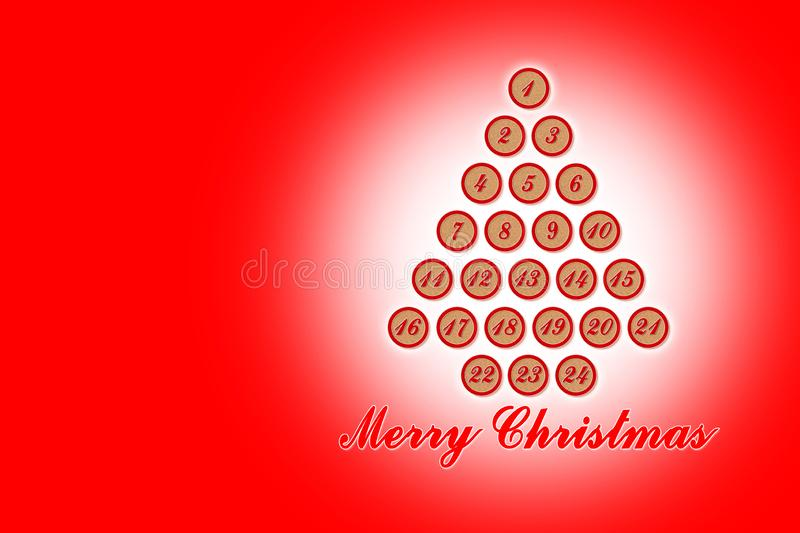 Twenty four days until Christmas - concept image with christmas tree stock illustration