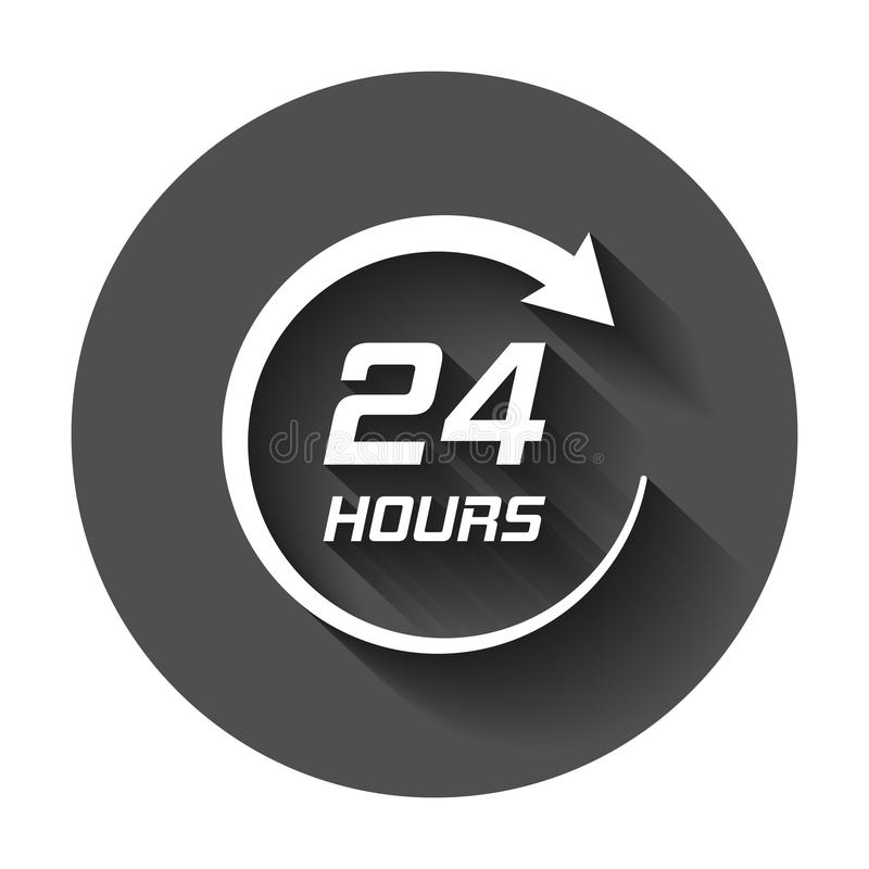 Twenty four hour clock icon in flat style. 24/7 service time ill royalty free illustration