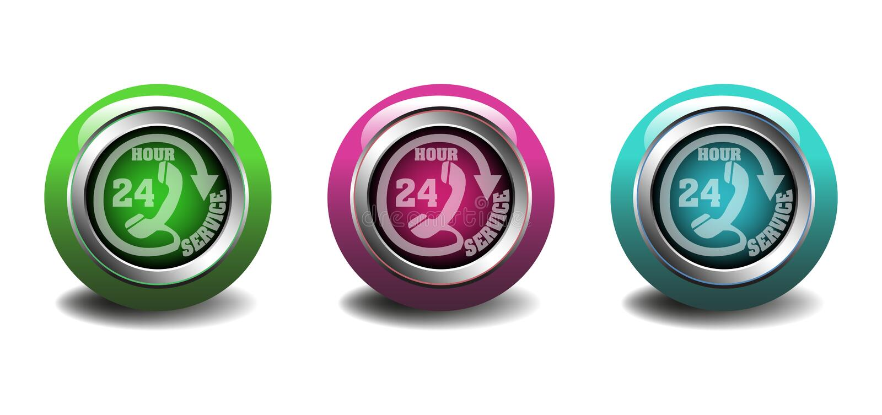 Twenty four hour service buttons vector illustration