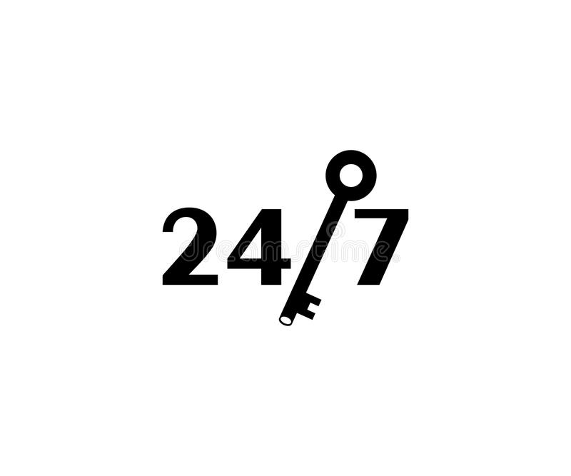 Twenty four hours a day for seven days a week and key logo template. 24/7 icon and vector design stock illustration