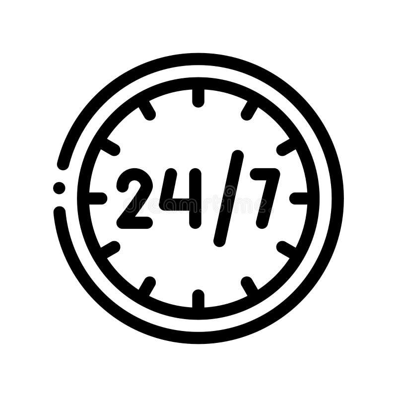 Twenty-four-sevenservice-Vektor-dünne Linie Ikone lizenzfreie abbildung