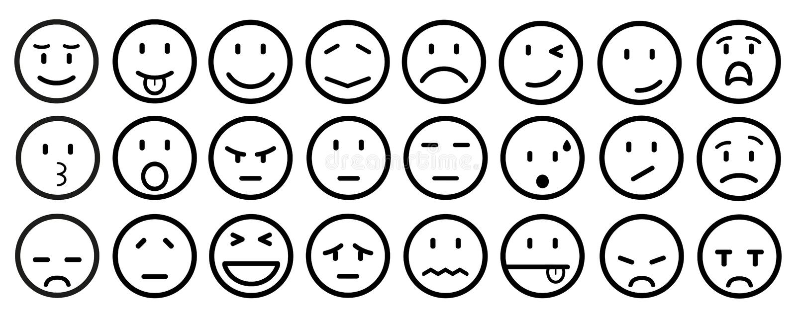 Twenty four smilies, set smiley emotion, by smilies, cartoon emoticons - vector royalty free illustration