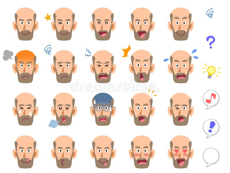 Twenty kinds of middle-aged male facial expression company with superficial managers scholars. The images of Twenty kinds of middle-aged male facial expression vector illustration