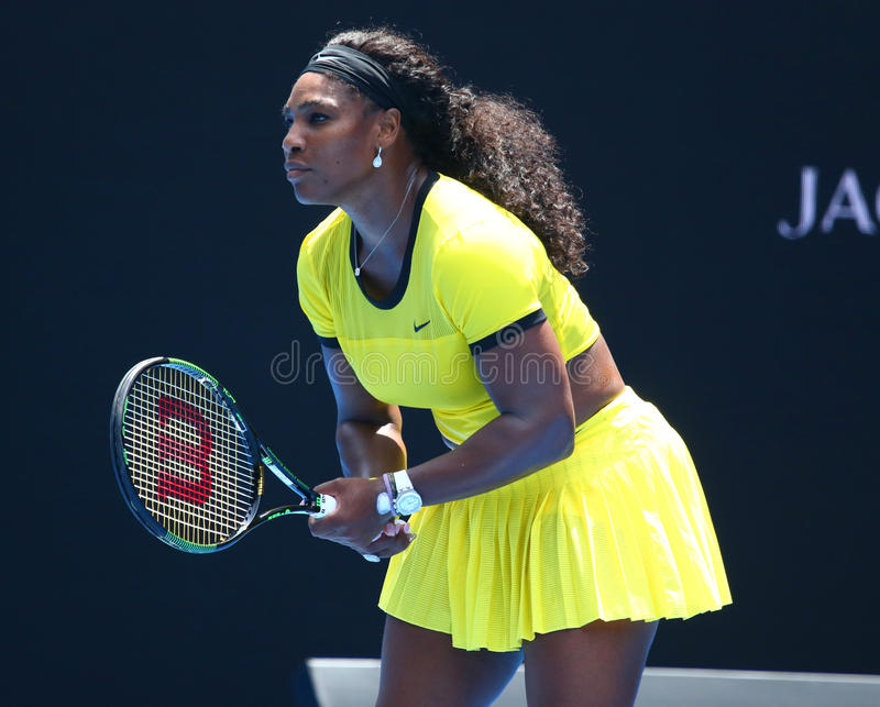 Twenty one times Grand Slam champion Serena Williams in action during her quarter final match at Australian Open 2016. MELBOURNE, AUSTRALIA - JANUARY 26, 2016 royalty free stock photo