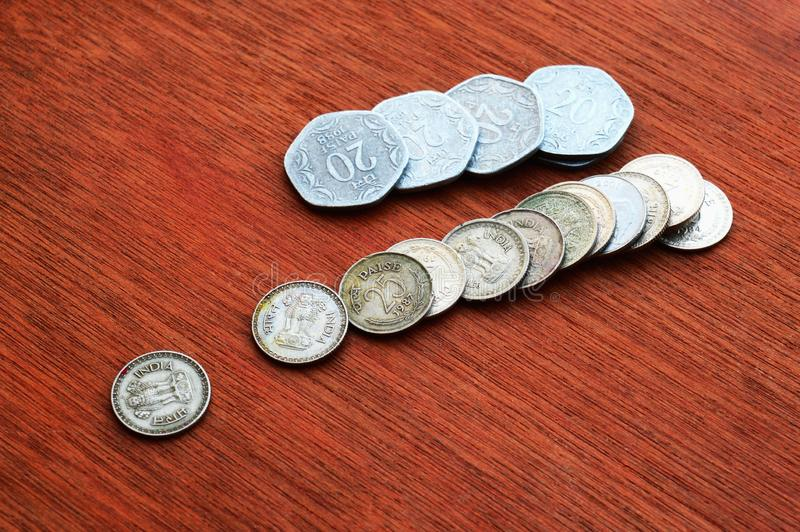 Twenty  paisa and 25 paisa, old Indian coins stock images