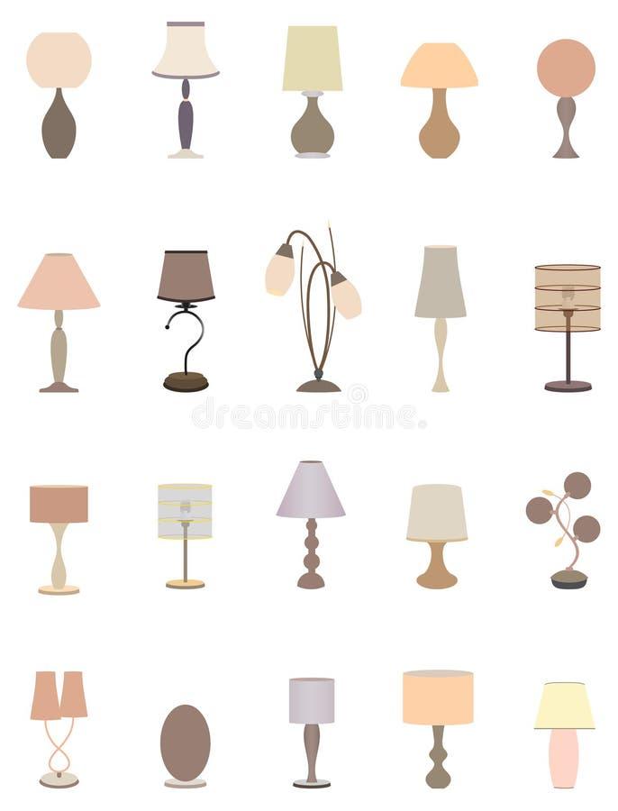Twenty pastel colors elegant lamps collection for interior design. royalty free illustration