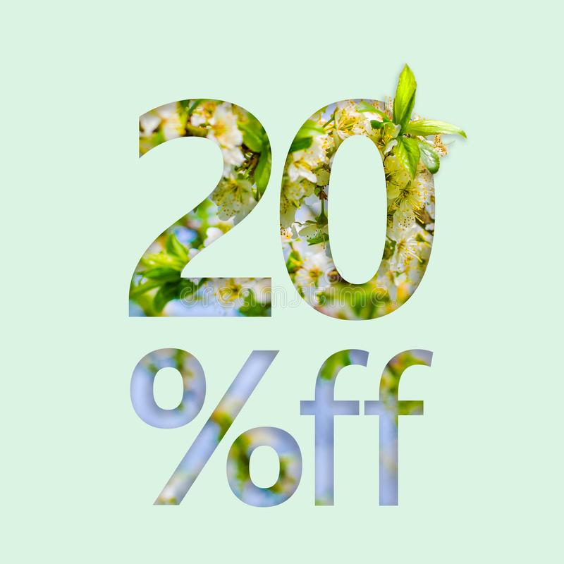 20% twenty percent off discount. The creative concept of spring sale, stylish poster, banner, promotion, ads. royalty free stock photography
