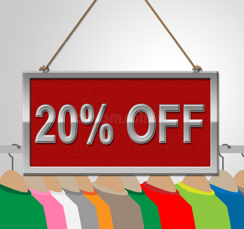 Twenty Percent Off Means Shirt Bargains And Board. Twenty Percent Off Representing Bargains Display And Discounted stock illustration