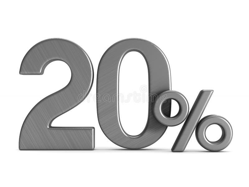 Twenty percent on white background. Isolated 3D illustration.  royalty free illustration
