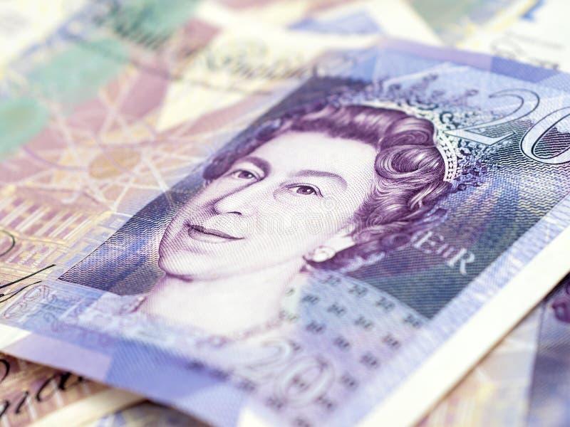 Twenty pound notes close-up stock photography