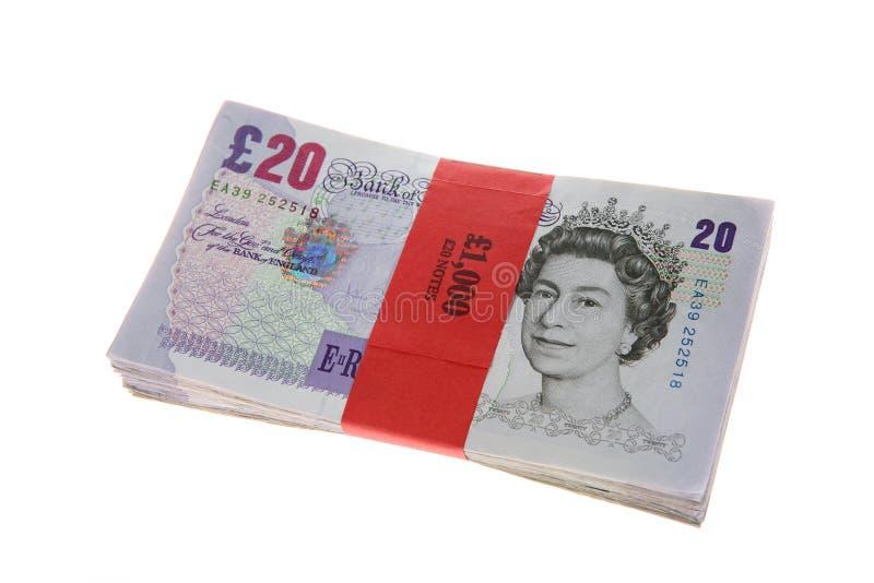 Twenty Pound Notes Wad Bundle stock photo