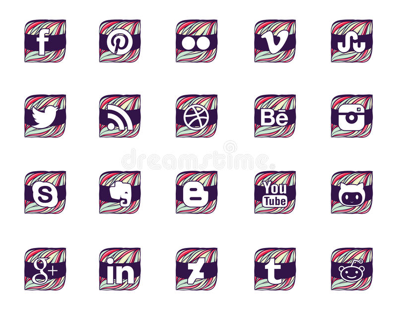Twenty social icons in wavy style. Twenty most common social icons made by colorful waves and violet ribbon stock illustration