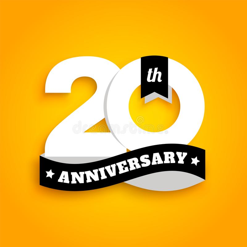 Twenty years anniversary logo with black ribbon, 20th years celebration isolated on yellow background. Vector. royalty free illustration
