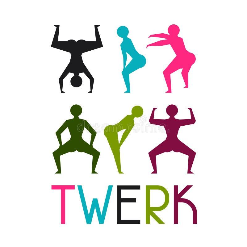 Twerk和赃物舞蹈背景跳舞的 库存例证