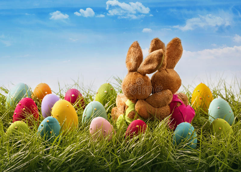 Twi easter rabbits royalty free stock photo