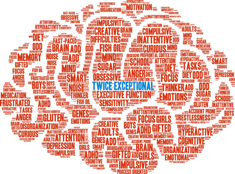 Twice Exceptional Word Cloud. Twice Exceptional ADHD word cloud on a white background royalty free illustration