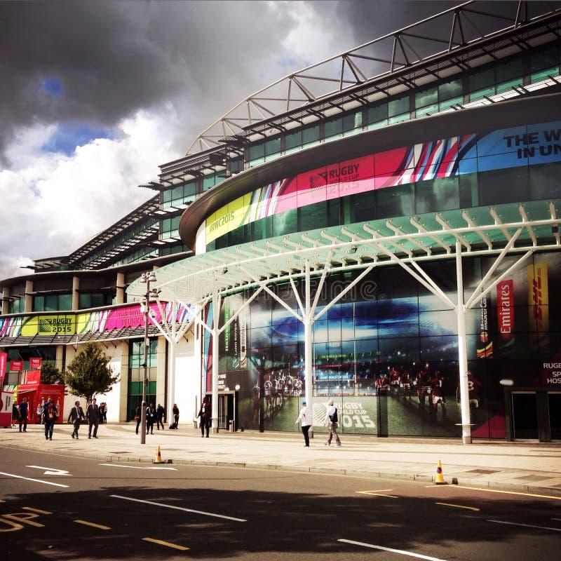 Twickenham Stadium, het Trefpunt van de Rugbywereldbeker 2015 stock foto
