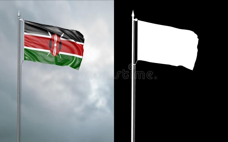 Twierdzi flagę republika Kenja z alfa kanałem ilustracji