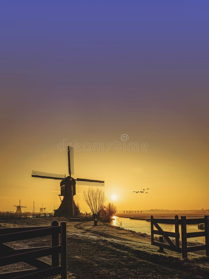 Free Twight Light Sunrise On The Unesco Heritage Windmill Royalty Free Stock Photos - 181816858