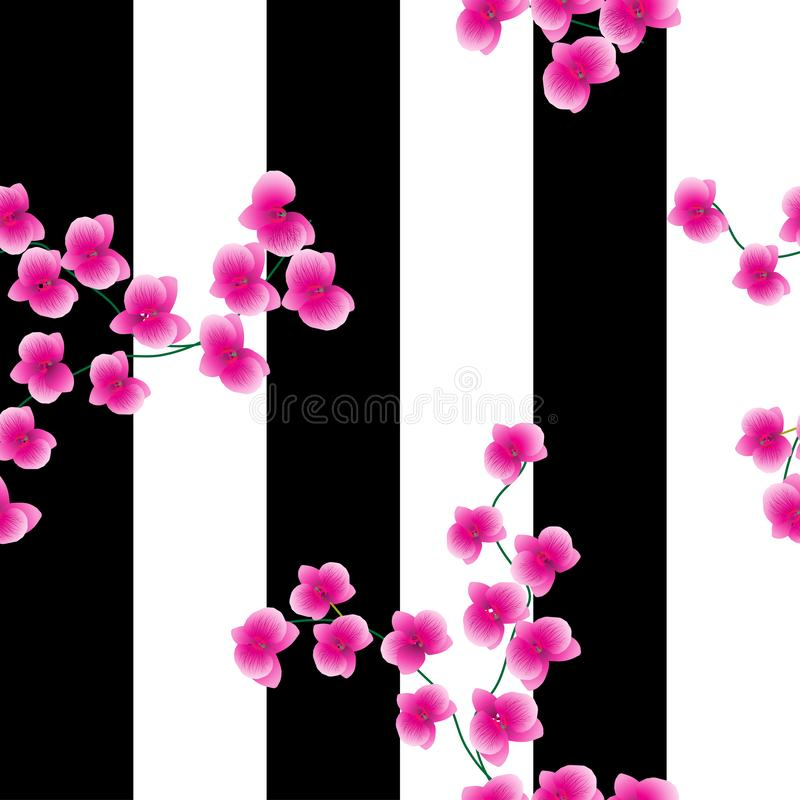 Twigs of a pink orchid on a dark background with wide. black stripes. Seamless pattern. Can be used for fabrics stock illustration