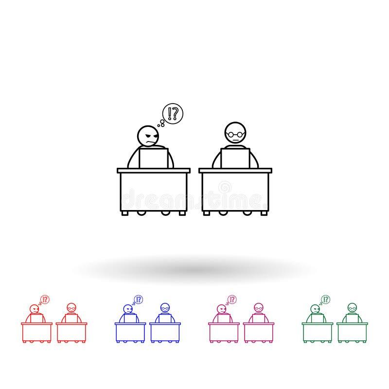Twijfel één\'s collega-pictogram voor meerdere kleuren Eenvoudige dunne lijn, omlijnde vector van de pictogrammen van collega's e vector illustratie